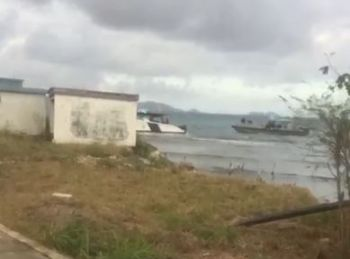 The chase then led to the boat crashing into the rocky area adjacent to Nanny Cay, close to the Sea Cow's Bay inner harbour with the boat captain fleeing the scene on foot after the ordeal. Photo: Team of Reporters