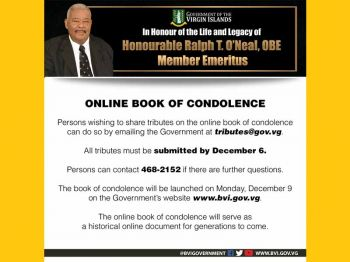 The release noted that the online condolences book will serve as a historical online document that will be available for generations to come and tributes must be sent by December 6, 2019, and additional information can be requested by calling 284-468-2152. Photo: Facebook