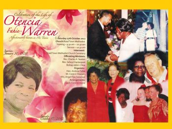 Sections of the funeral service booklet for Mrs Otencia Fahie-Warren aka Ms Tensie. Photo: VINO