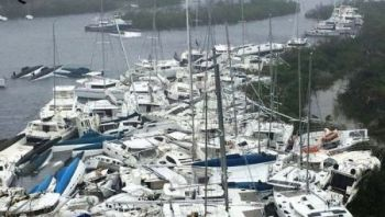 Boats piled high in the BVI after Hurricane Irma. Photo: VINO/File