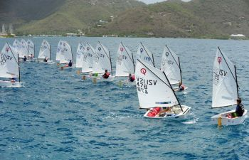 Racing took place on the Sir Francis Drake Channel just off Nanny Cay where local sailors were joined by sailors from St Croix, St John and St Thomas, USVI. There were 52 Dinghies out on the water. Photo: Todd Vansickle