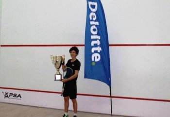 Teenager and World No.145, Jesus Camacho (in photo) came up with a gladiatorial display to dispatch England's Adam Murrills in the final of the [British] Virgin Islands Open Squash Championship, PSA M5 tournament, on June 26, 2016, lifting his first PSA World Tour title in the process. Photo: Provided