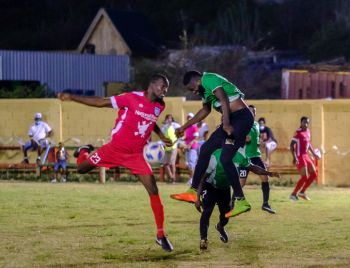 The Islanders FC (red tops) returned to the top of the BVI Football Association (BVIFA) National League on Sunday, August 16, 2020, with a comfortable 3-0 victory over the defending Champions One Love FC on the Virgin Gorda Recreation Ground. Photo: BVIFA