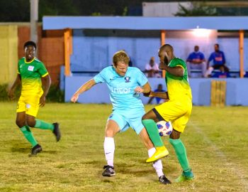 Wolues FC (blue) were held to a 2-2 draw by VG United at the Virgin Gorda Recreation Ground on Sunday, August 16, 2020. Photo: BVIFA
