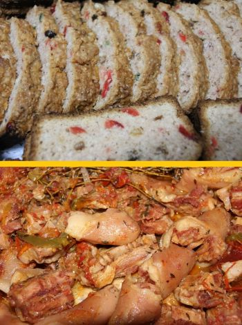 Persons also had the option of cake (above) and stewed pig tail (below). Photo: Provided