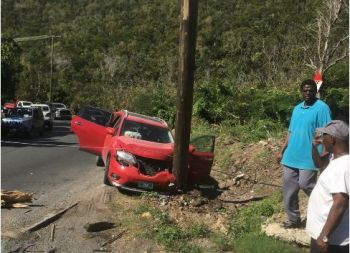 According to police sources, the young lady, who was the lone driver of a red Sports Utility Vehicle (SUV) escaped with minor injures yesterday, Thursday, January 17, 2019. Photo: Team of Reporters