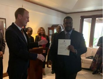 Premier Hon Andrew A. Fahie (R1) was officially appointed Minister of Finance by Governor Augustus J. U. Jaspert. Photo: VINO