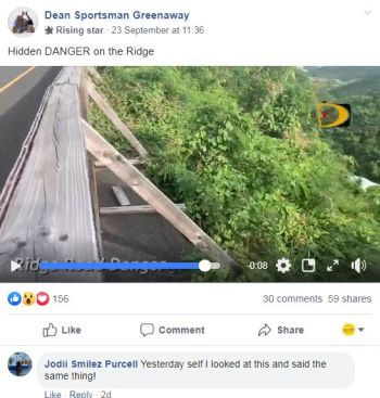 In a video originally posted in the 'Real BVI Community Board' entitled 'Hidden Dangers of the Rift,' the concerned resident showed how hidden erosion is now taking toll behind one barricade. Photo: Facebook