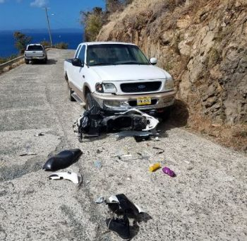 Meanwhile, there was also another scooter accident, today on Jost van Dyke and the rider was injured and had to be rushed to the Peebles Hospital on Tortola. Photo: Team of Reporters