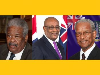 Chief Minister and Premier Ralph T. O'Neal, OBE, Former Deputy Chief Minister Ronnie W. Skelton, former Chief Minister and Premier Dr. D. Orlando Smith, OBE. Photo: GIS/File