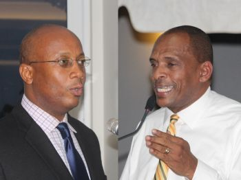 The Controversial Ports Development Project continues to raise red flags both in the Public Accounts Committee Report and the Auditor General Audit of the Project. The two men at the centre of the Project are Minister for Communications and Works Honourable Mark H. Vanterpool (left) and Managing Director of the BVI Ports Authority Claude O. Skelton-Cline. Minister Vanterpool has hit the airways with paid ads from a speech in the House of Assembly trying to defend the project and discredit the PAC report. Photo: VINO/File
