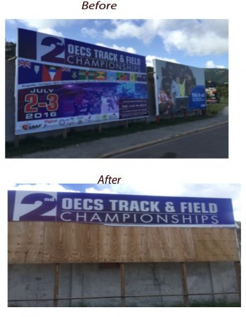 The billboard (above) before it was destroyed (below). Photo: Twitter