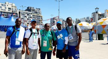 Coach Ralston Henry, Malik John (400m), BVIOC Pres Ephraim Penn, Keanu George (Young Change Maker), Cleave Farrington, Chef de Mission Buenos Aires 2018. Photo: BVI Olympic Committee.