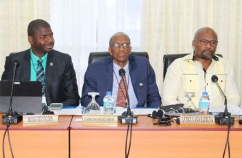 From left: Minister for Education, Culture, Youth Affairs, Fisheries and Agriculture, Hon Natalio D. Wheatley (R7); Assistant Secretary General in Charge of Human and Social Development at the CARICOM Secretariat, Dr Douglas Slater and Minister of Education, Science and Technology, Antigua and Barbuda, Michael S. Browne. Photo: Guyana Chronicle.