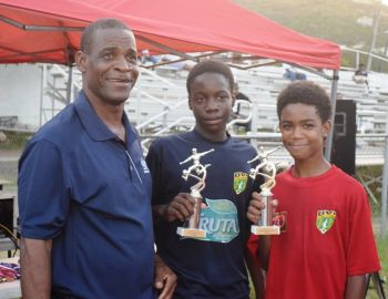 League and Cup MVPs, Devante Samuel of North Sound and Miquel Marshall, Road Town. Photo: BVIFA