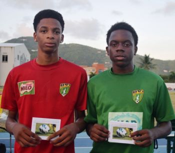 Phillip Jules (left) of Road Town and Tyreek Gardiner of the Valley, Men of the Match in the final and 3rd place play off respectively. Photo: BVIFA