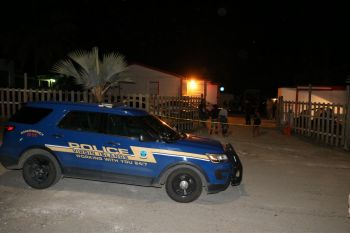 Police respond to shooting at the Corner Pocket Nightclub in Estate La Reine late Saturday night, February 27, 2021. Photo: Toby Derima/ VIPD