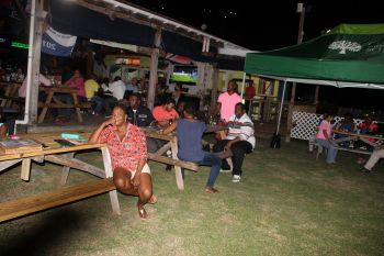 Some of the persons that witnessed the car raffle draw at Captain Mulligan's, Tortola last evening, October 14, 2016. Photo: VINO