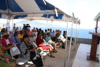 Some of the persons at the opening of the Copper Mine Visitor Centre on Virgin Gorda today, January 27, 2017. Photo: VINO