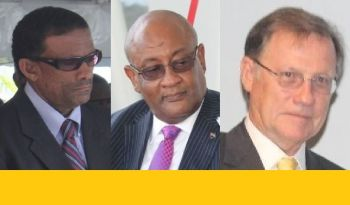 From left: Deputy Premier and Minister for Natural Resources and Labour, Dr The Hon Kedrick D. Pickering (R7), Health Minister Hon Ronnie W. Skelton and Governor John S. Duncan OBE have all been sued by Claude O. Skelton-Cline over his renewal of contract as Managing Director of the BVI Ports Authority (BVIPA). Photo: VINO/File