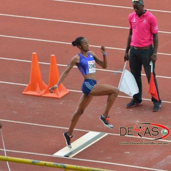 Next up today, July 23, 2015, Karene King will take on the 200m, Chantel Malone (in photo) will be competing in the Long Jump and Eldred Henry will throw in the Discus finals. Photo: Provided