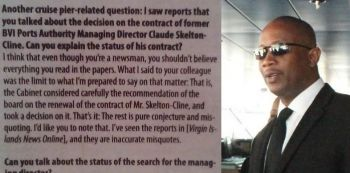 Left: A portion of the interview with Governor John S Duncan OBE as conducted by BVI Beacon reporter Ken E. Silva. Right: Former Managing Director of the BVI Ports Authority, Claude O. Skelton-Cline. Photo: VINO