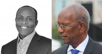 Mr Julian Willock skillfully lent his voice to the controversy in which former Chairman of the BVI Health Services Authority Board, Bishop John I. Cine, left, was fired by Premier Dr The Honourable D. Orlando Smith (AL), right. Photo: VINO/File