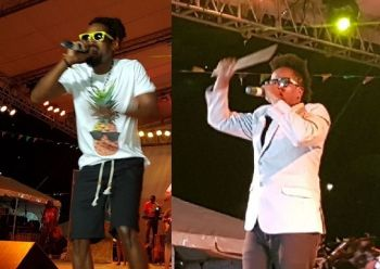 Face (right) was named First Runner Up while Drastic (left) was adjudged second Runner Up in the 2017 Soca Monarch Competition. Photos: VINO