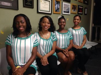 Four outstanding young ladies will compete for the 2013/2014 Elmore Stoutt High School (ESHS) Miss Fifth Form crown this evening, February 1, 2014 at the Multi-Purpose Sports Complex. [L-R] Jelifa Robinson, Yadali Thomas, Oudrea Smith and Mia Francis. Photo: Supplied