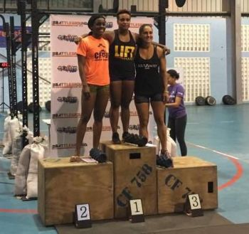 Caroline Sorrentino (right) placed third in the Women's RX event at the CrossFit 758 Battleground competition in St Lucia, last weekend. Photo: Provided