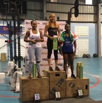 Zoe Sorrentino (centre) took first place in the Women's Scaled Event at the CrossFit 758 Battleground competition in St Lucia, last weekend. Photo: Provided