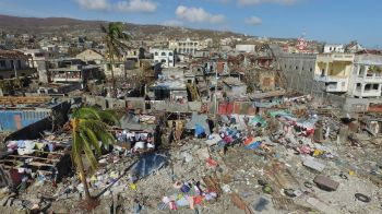 The areas of Jeremie, Haiti, destroyed by Hurricane Matthew are seen from the air on October 8, 2016. Photo: Nicolas Garcia/AFP/Getty Images