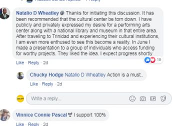 Minister for Education, Culture, Youth Affairs, Fisheries and Agriculture, Dr The Honourable Natalio D. Wheatley (R7) wrote on the REAL BVI Community on August 21, 2019 that it has been recommended that the cultural center be torn down. Photo: Facebook