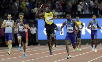 The fastest man in the world, Usain St Leo Bolt, pulls up in the final race of his stellar career. Photo: Twitter