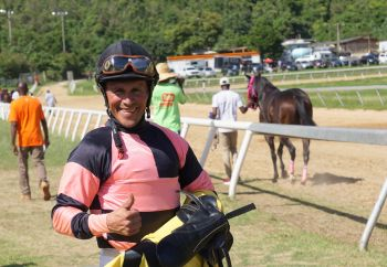 Jockey Nick Goodman had the honour of winning the first and the last race of the day at the Pre-Valentine's Horse Races at Ellis Thomas Downs in Sea Cows Bay on February 2, 2020. Goodman first won with Uncle Mace of Top Priority Racing Stables and then with Courage & Honour in the feature race. Photo: Andre S. Dawson aka 'Shadow'