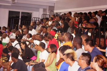 It was standing room only at a packed Save the Seed Energy Centre in Duff's Bottom, Tortola, for last night's November 1, 2014 Game 2 of the finals. Photo: Andre 'Shadow' Dawson