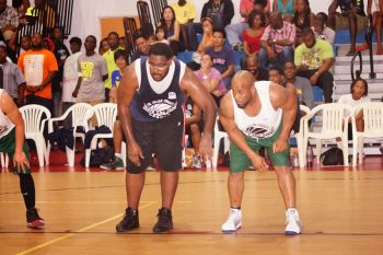 Two big men! Knights' Houston Penn and Bayside Blazers' Rhodni A. Skelton. Photo: Andre 'Shadow' Dawson