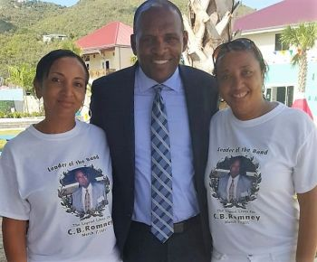 Minister for Communications and Works Hon Mark H. Vanterpool at the Tortola Pier Park on Tuesday March 1, 2016 flanked by Director of Operations Patricia M. Romney (right) and Director of Finance Marnie Romney. Photo: Provided