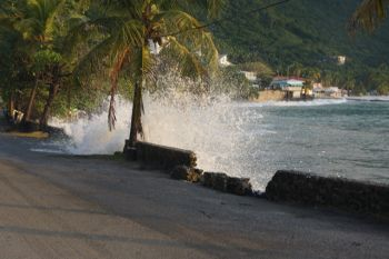 High surf also hit the Cane Garden Bay area as well and forced debris and sand all over the roadways. Photo: VINO