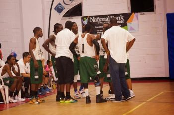 Team Bayside Blazers talk strategy. Photo: Andre Shadow Dawson