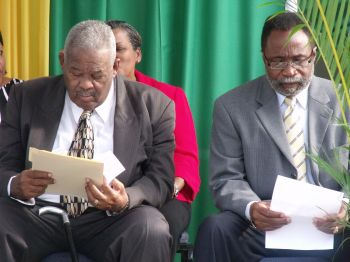 The late First Premier of the Virgin Islands, Hon Ralph T. O'Neal, OBE, left, with Third District Representative, Hon Julian Fraser, RA back in 2011. Photo: VINO/File
