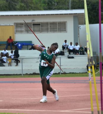 Tynelle Gumbs prevailed over Dominica's Shanee Angol. Gumbs tossed the 500g spear 39.91m to Angol's 35.97m for her second win over Ango. Photo: Charlie E. Jackson/VINO