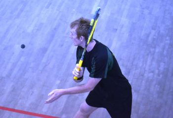 Joe Chapman starts the ball rolling for the BVI team in the Squash Men's Singles on July 11, with Adam Murrills as his coach. Photo: Provided/File