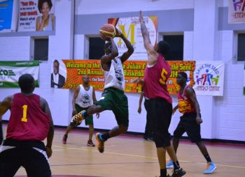 Edwin thrilled the crowd with 3 dunks during the game which also saw Jolyon J. D. Wilson notch 15 points with 8 rebounds. Sandy E. Nadal added 12 points and Asim Z. C. Beazer 11 with 8 rebounds and 5 assists. Photo: VINO