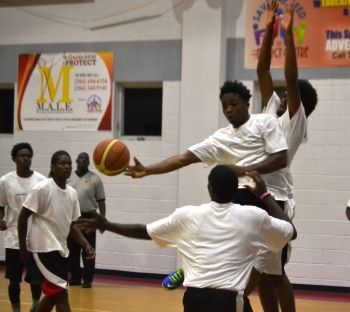 The Youngsters from Virgin Gorda certainly seemed willing to show their skills as they raced into a 10 point half time lead against the Blazers, who were Save the Seed Basketball League 2014 Champions, 31-21. Photo: Charlie E. Jackson/VINO