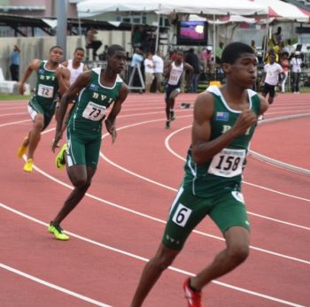 Khari Herbert Jr won the Boys 400m in 48.39 seconds with St. Kitts' Warren Hazel second in 49.14 and Kyron McMaster third in 49.45. Photo: Charlie E. Jackson/VINO