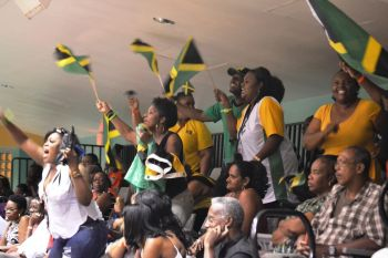 The Jamaican supporters came out in their numbers and celebrated their team victory in style. Photo: Charlie E. Jackson/VINO
