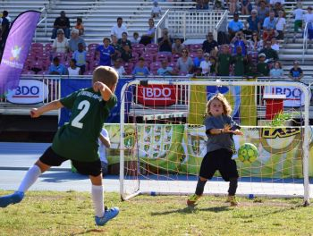 The winning goal for Cedar School U7's against Montesorri. Photo: Charlie E. Jackson/VINO