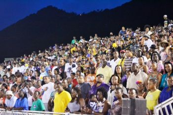 Huge crowds turned out to support the inaugural BVI Twilight Track Meet back in June 2013. Photo: Charlie E. Jackson/VINO