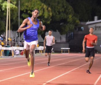 Kyron McMaster set a new PB in the 200m to add to his 400m Hurdles new best from Meet 2. Photo: Charlie E. Jackson/VINO